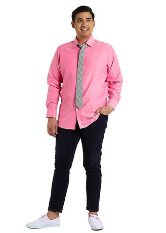 Pink color Formal Shirts . IDENTITY Oxford Series Men's Casual Wear Long Sleeve Bubble Gum Shirt -