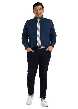 Navy color Formal Shirts . IDENTITY Oxford Series Men's Casual Wear Long Sleeve Navy Blue Shirt -