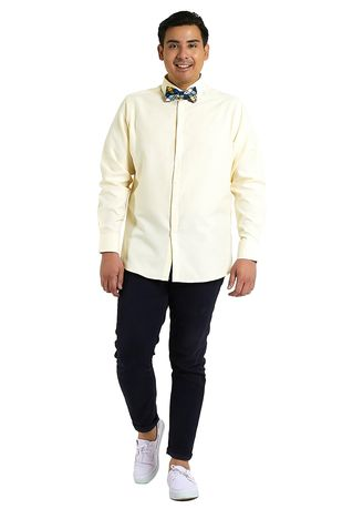 Yellow color Formal Shirts . IDENTITY Oxford Series Men's Casual Wear Long Sleeve Light Yellow Shirt -