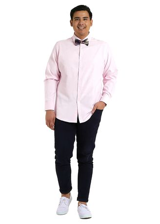 Pink color Formal Shirts . IDENTITY Oxford Series Men's Casual Wear Long Sleeve Light Pink Shirt -