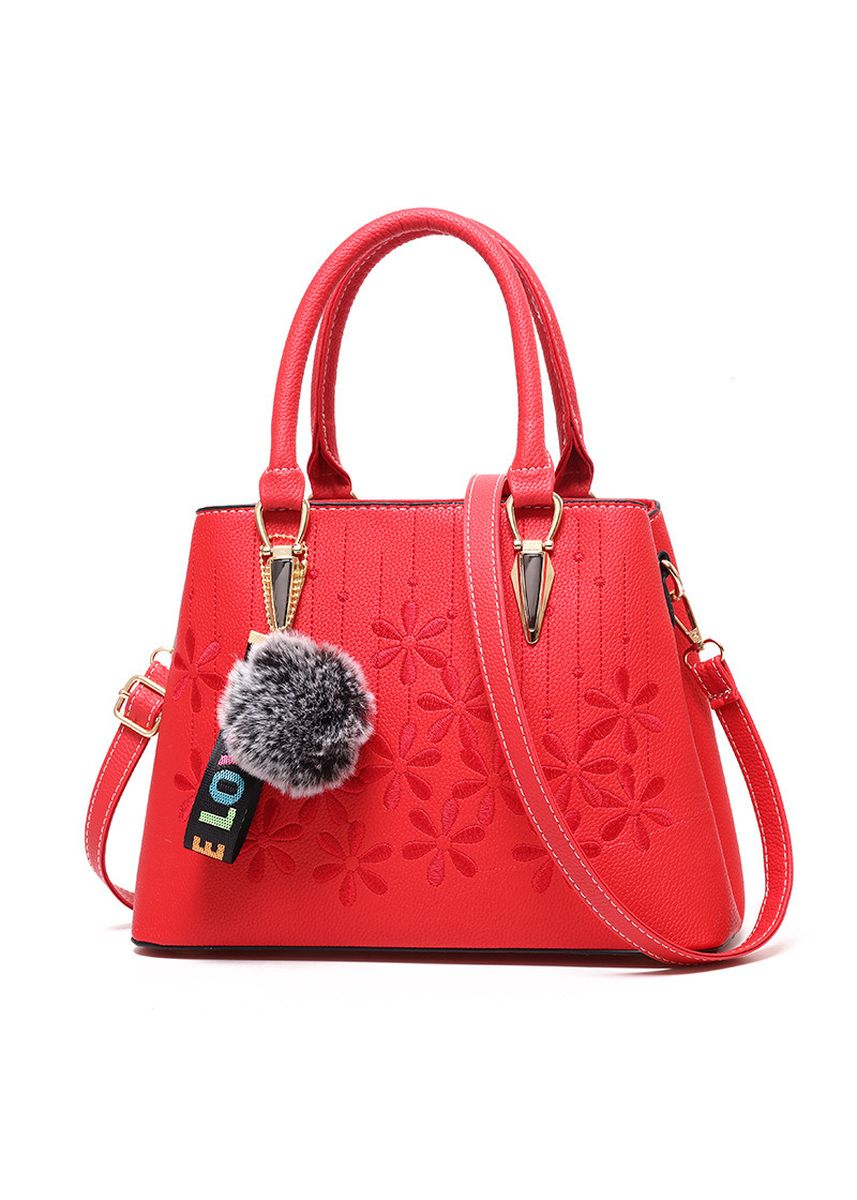 Red color Hand Bags . Ladies Casual Women's Bag Hanging Hair Ball Fashion -