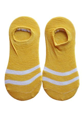 Kuning color Kaus Kaki . Ankle Stripe Yellow -