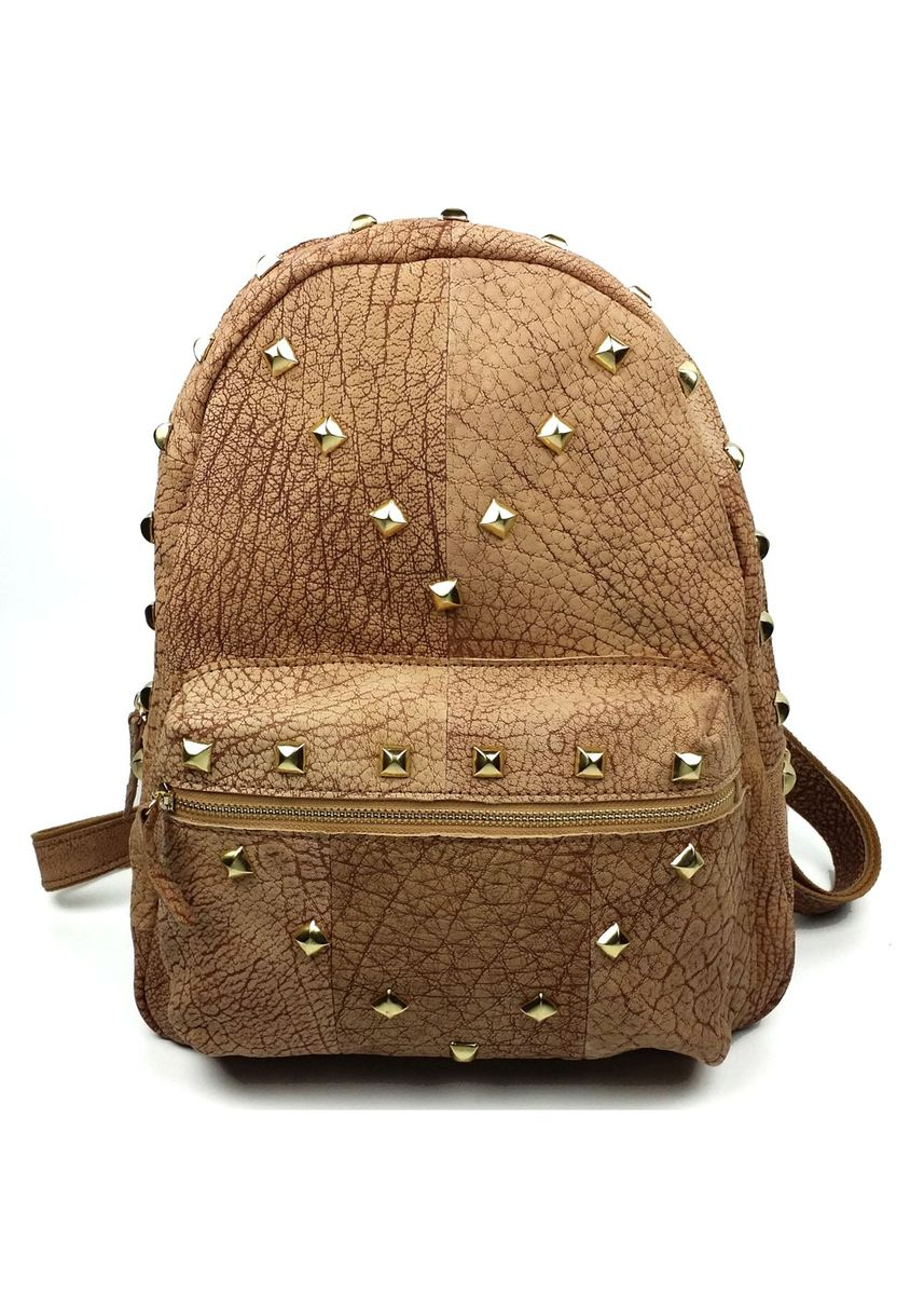 Brown color Backpacks . Rivet Pure Color Shoulder Bag -