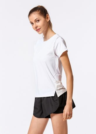 White color Sports Wear . Breathable Quick-Drying Fitness T-Shirt -
