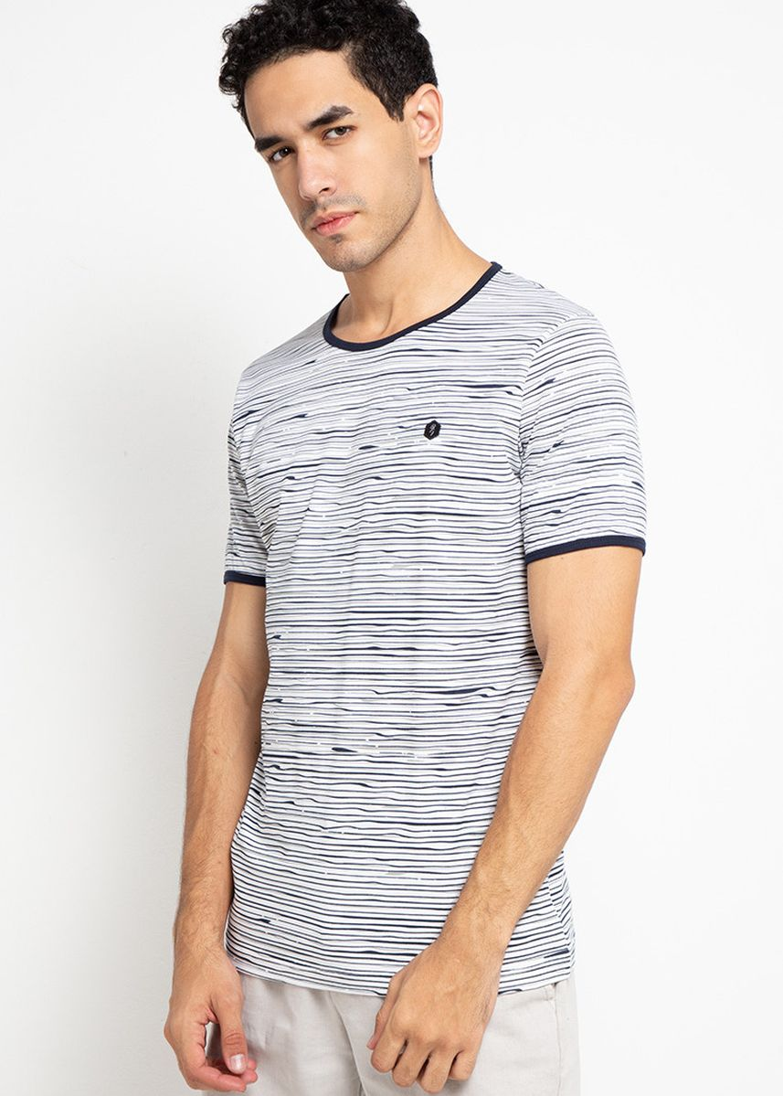 Putih color Kaus Oblong & Polo . Cressida Striped T-Shirts I243 -
