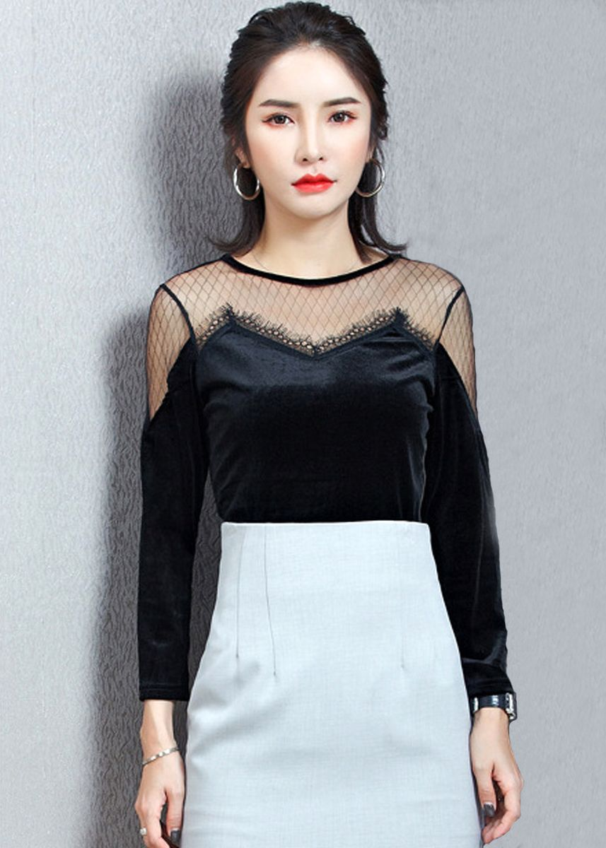 Black color Tops and Tunics . Women Mesh Lace Long Sleeves Round Neck Tops -