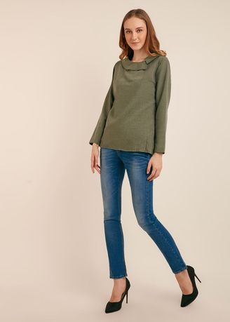 Green color Tops and Tunics . Eiluned Sleeve Blouse -
