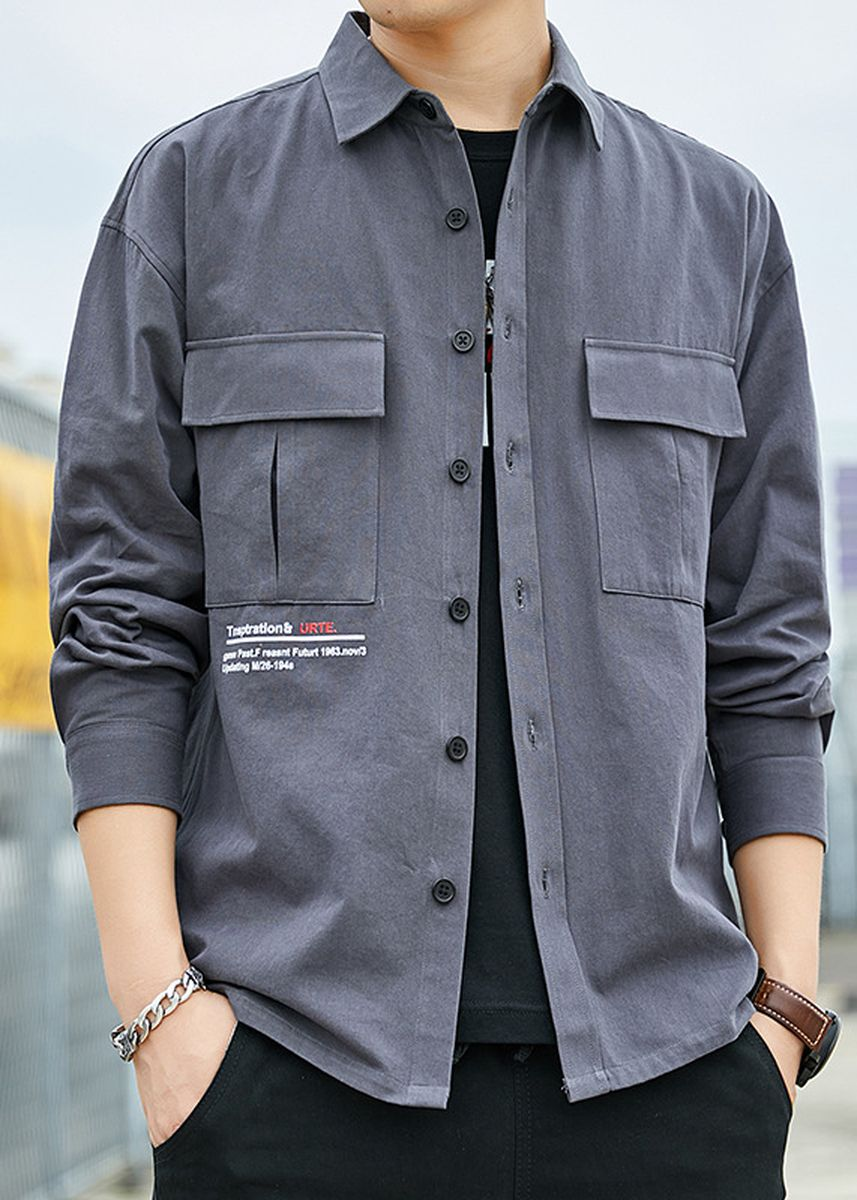 Grey color Casual Shirts . Men's Casual Shirts Loose Cotton Shirt -