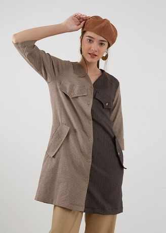 Brown color Outerwear . Berrybenka Vegard Oversized Outer Brown -