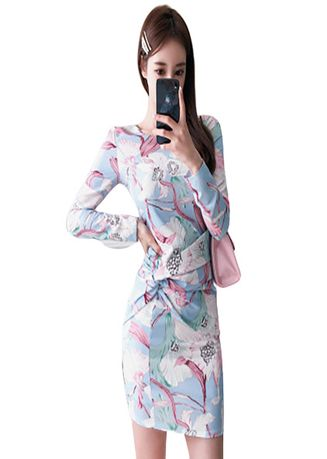 Multi color Dresses . Fold The Fashion Printing Package Buttocks Dress -