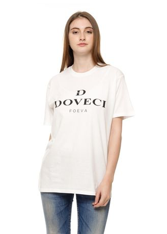 White color Tees & Shirts . White T-shirt with Doveci logo -