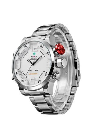 Silver color Analog . Weide Japan Quartz Miyota Men LED Sports Watch Stainless Steel Free Box Exclusive  -
