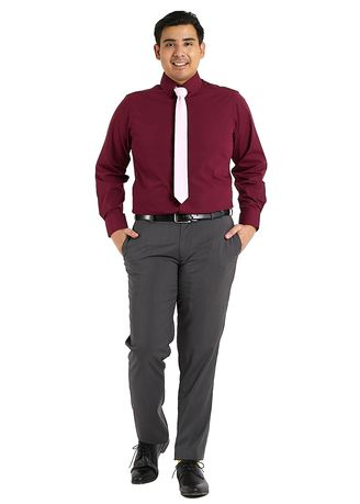 Maroon color Formal Shirts . PROFILE By IDENTITY Executive Series Mens Corporate Long Sleeve Maroon Shirt -