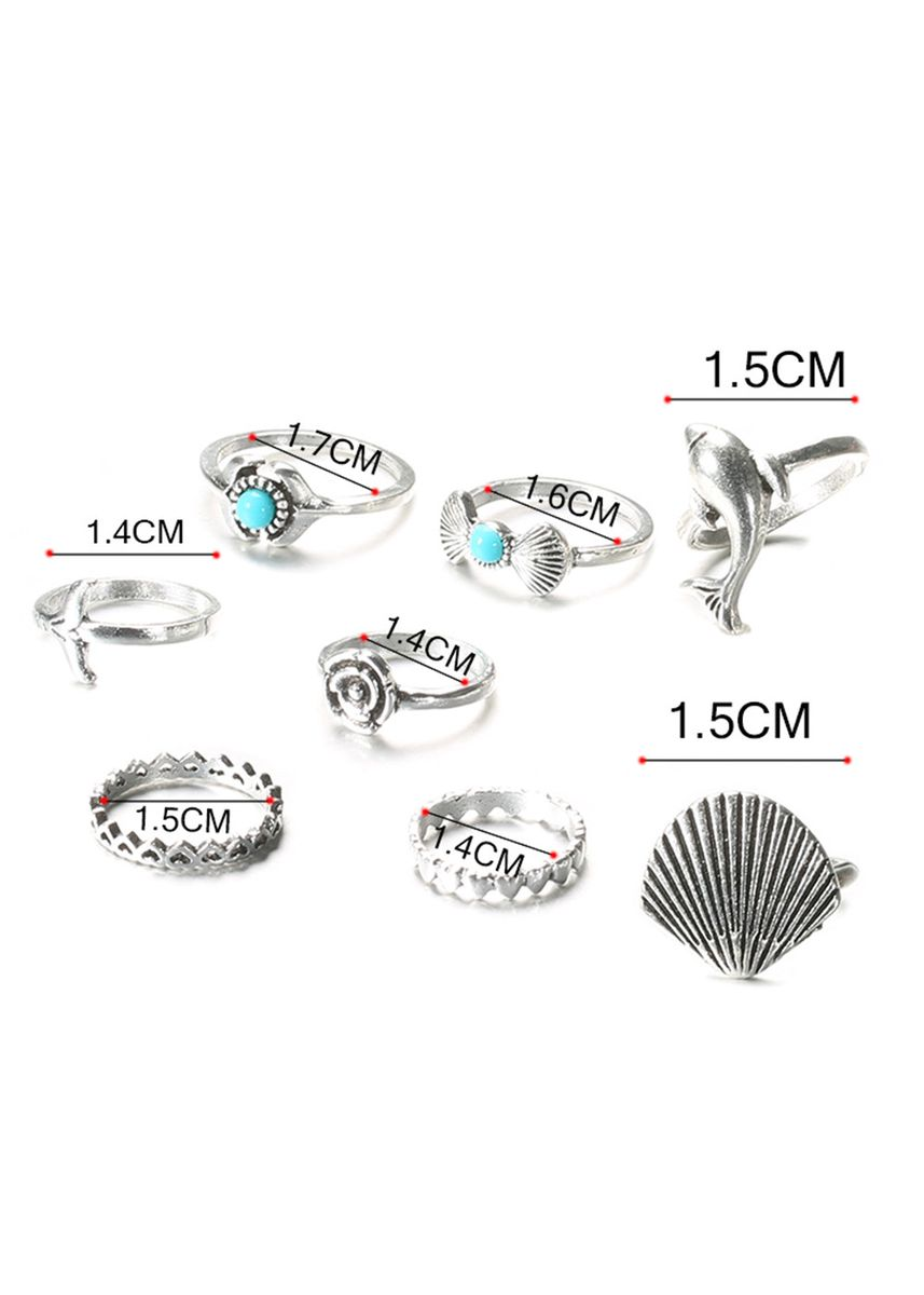 Silver color  . 8Pcs/Set Women Dolphin Shell Faux Ring  -