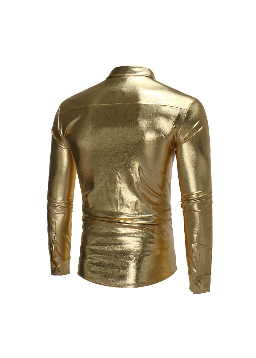 Gold color Casual Shirts . Fashion New Nightclub Personality Pattern Shirt Men's Casual -