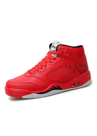 แดง color รองเท้ากีฬา . Basketball Men's Casual Sports High Shoes  -