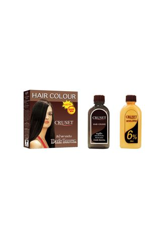 Brown color Styling . Cruset Hair Colour 28 ml. (Dark Brown) -