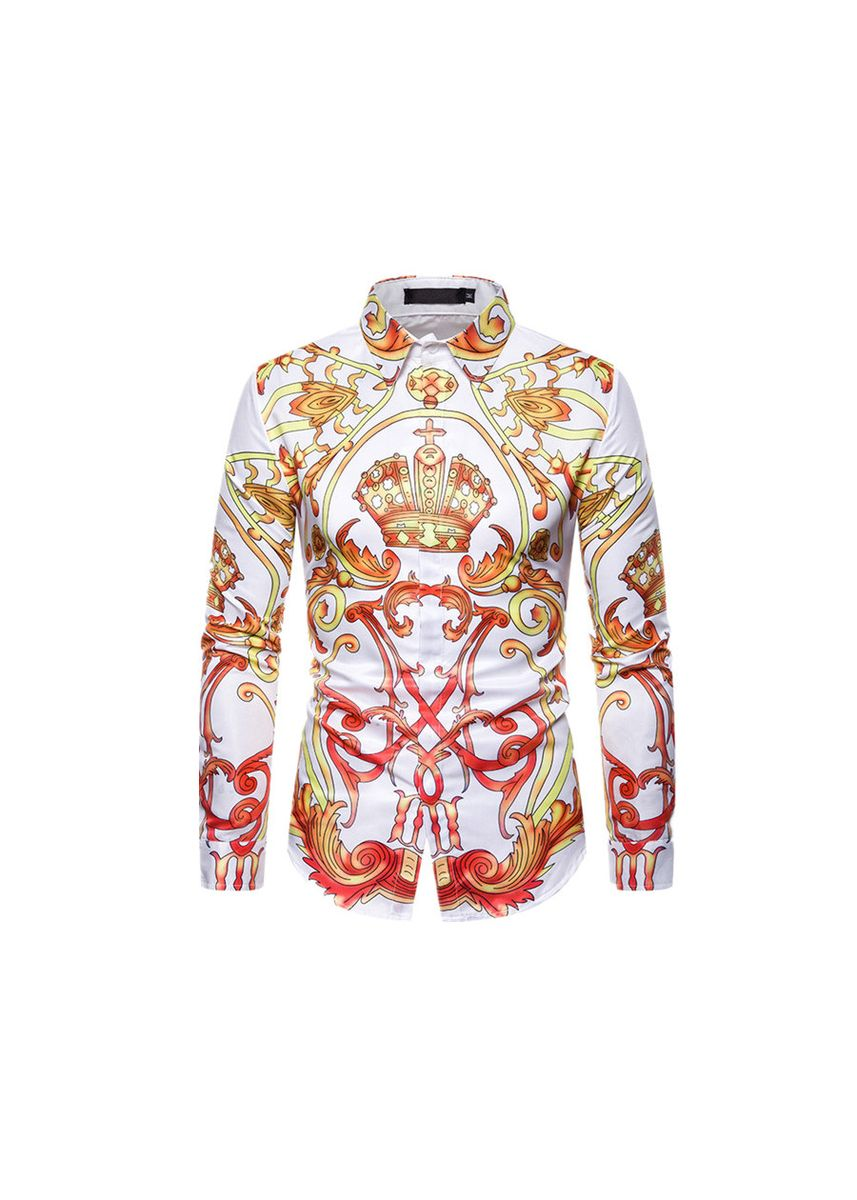 White color Casual Shirts . Men's Printed  Long Sleeve Shirt -