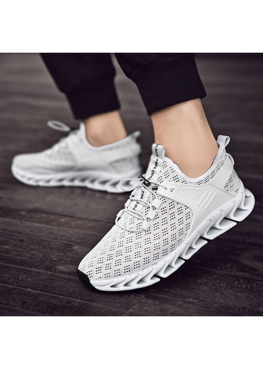White color Casual Shoes . Men's New Fashion Trend Shock Absorbent Sports Mesh Breathable Shoes -