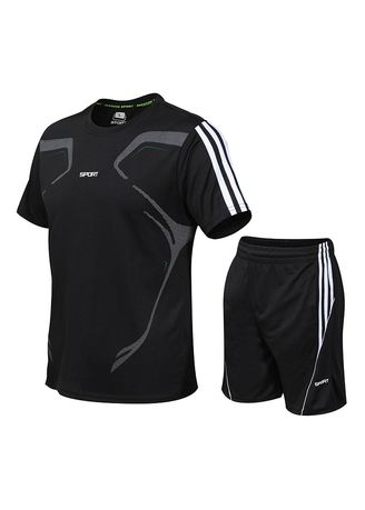 Black color Sports Wear . Men's Short Sleeve T-Shirt Set Men's Quick-drying Clothes Running Loose Casual Sportswear -