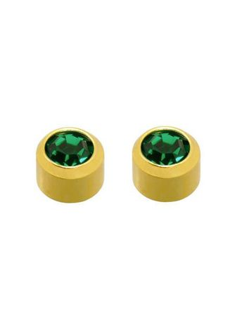 Green color Accessories . Caflon Fashion Sense Gold Plated Sterile May Birthstone Earrings - Emerald -