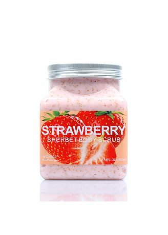 No Color color Body Scrub . Wokali Strawberry Sherbet Body Scrub With Free Make Up Brush Set -