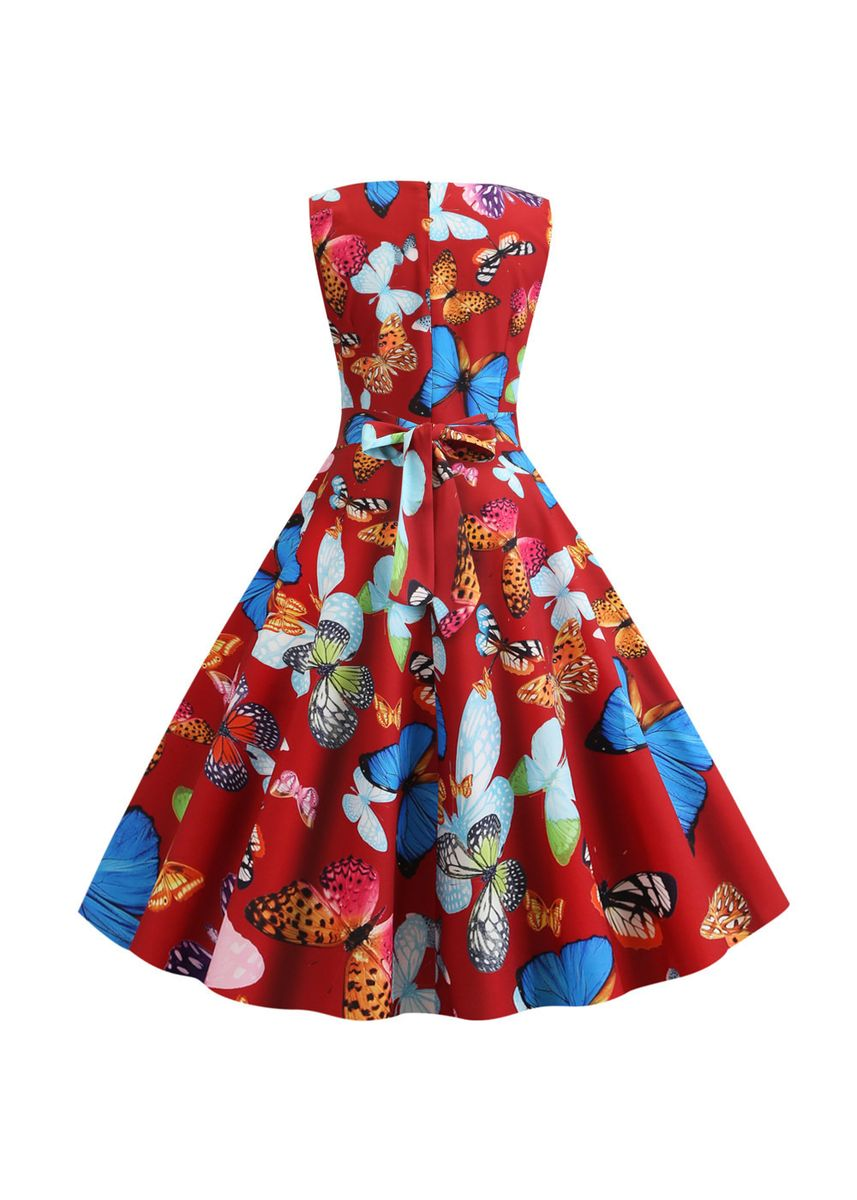 แดง color เดรส . Casual Round Neck Vintage Print Sleeveless Dress -