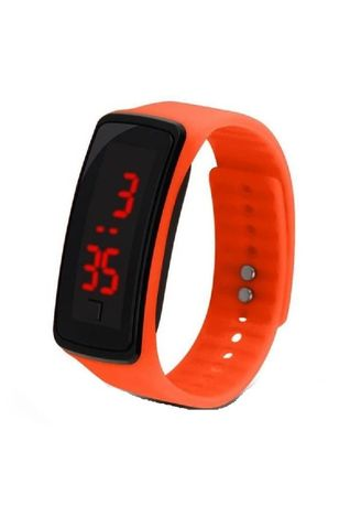 Orange color  . Celina Home Textiles Creative LED Silicone Wristband Sports Band Watch -