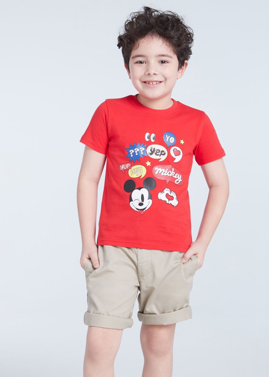 แดง color เสื้อ . Official Disney Mickey and Friends Icon T-shirt -