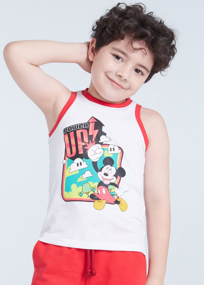 ขาว color เสื้อ . Official Disney Mickey and Friends Power Up Tank Top -