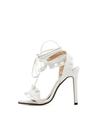 White color Heels . Fish Mouth Lace Shoes -