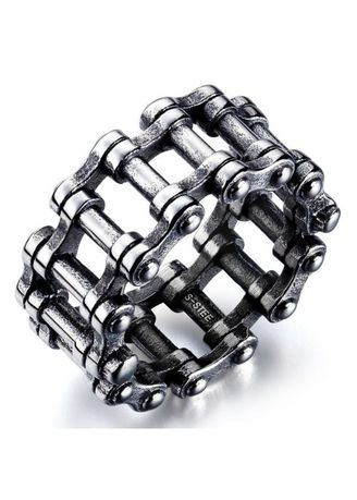เงิน color แหวน . Fashion Personality Bicycle Chain Titanium Steel Ring -