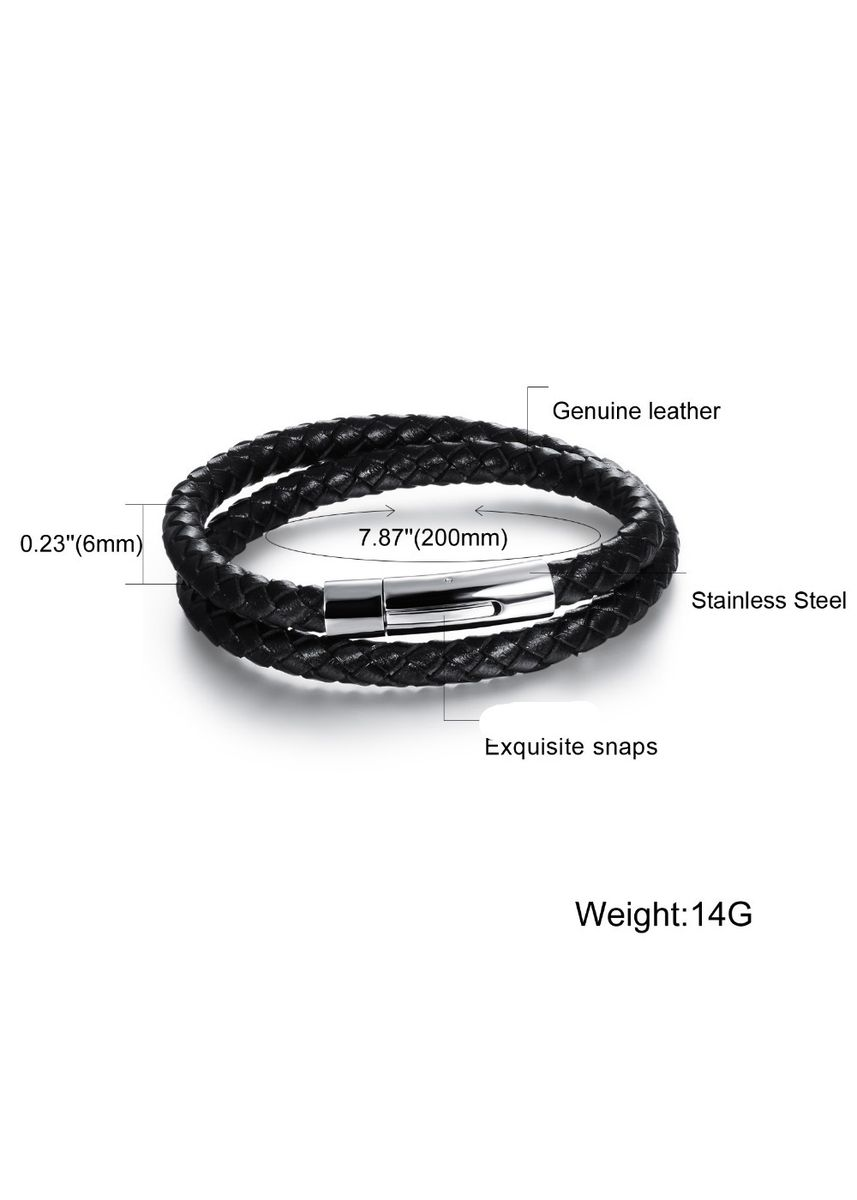 Silver color Bracelets . Men's Simple Retro Trendy Leather Bracelet -