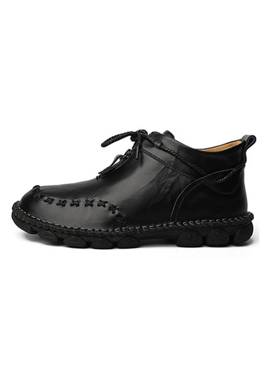 Black color Casual Shoes . Men's Leather Handmade Casual Shoes -