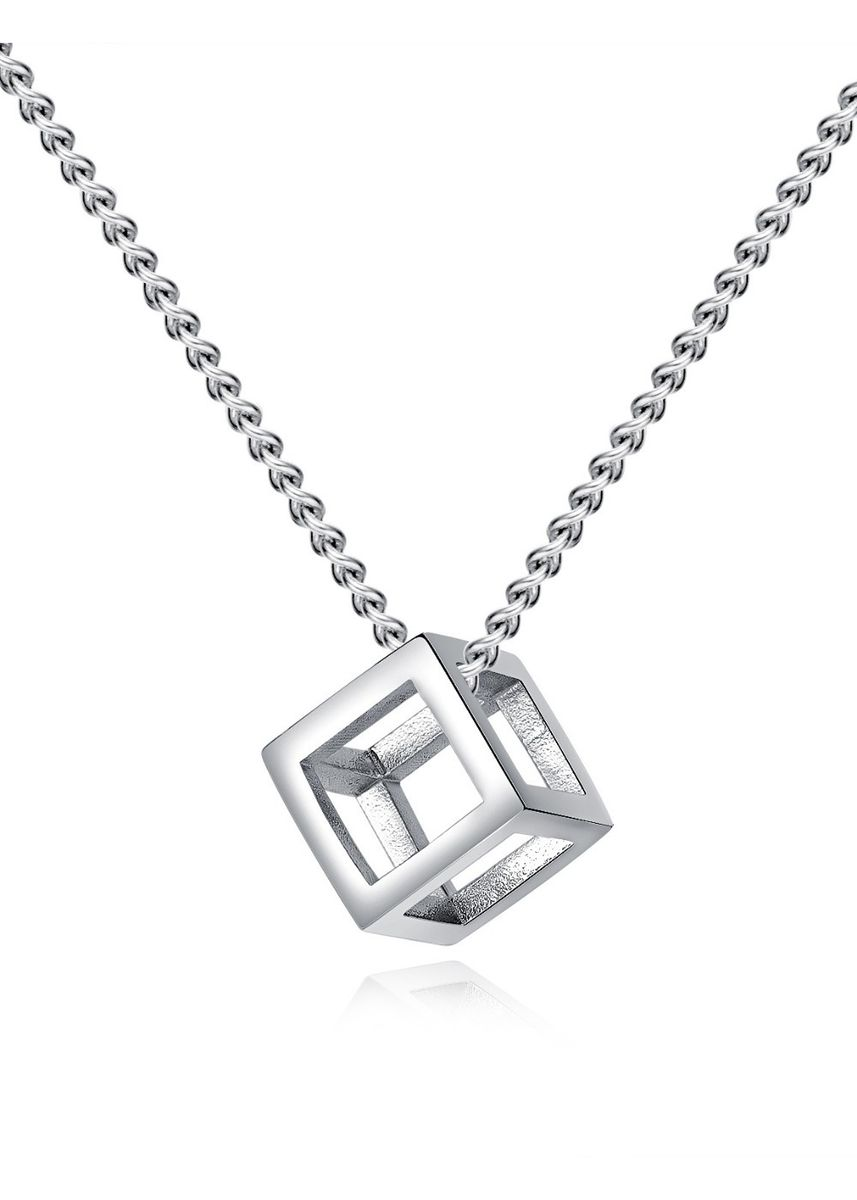 Silver color Necklaces . Personalized Hollow Cube Pendant -