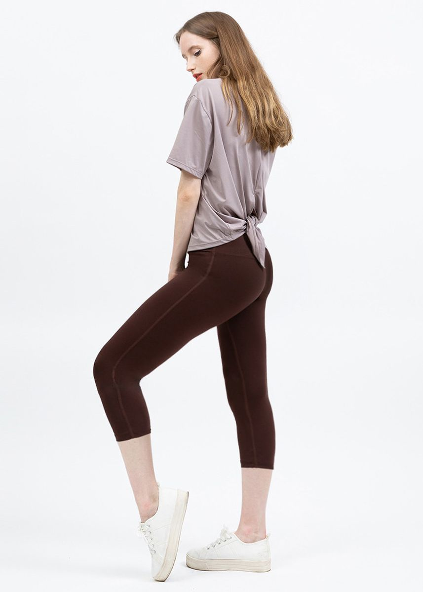 Brown color Leggings . Nokjok Jennie 7bu Capri Leggings -