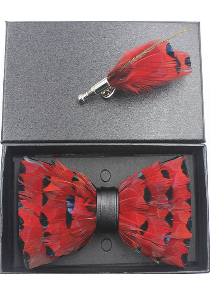 มัลติ color เนคไท . Hand-Made Feather Pre-Tied Bow and Brooch Set -