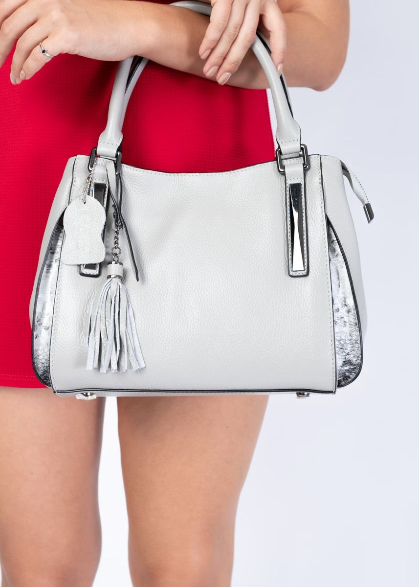 Grey color Hand Bags . GAVE Genuine Leather Bag รุ่น Frank  Casual สีเทา -
