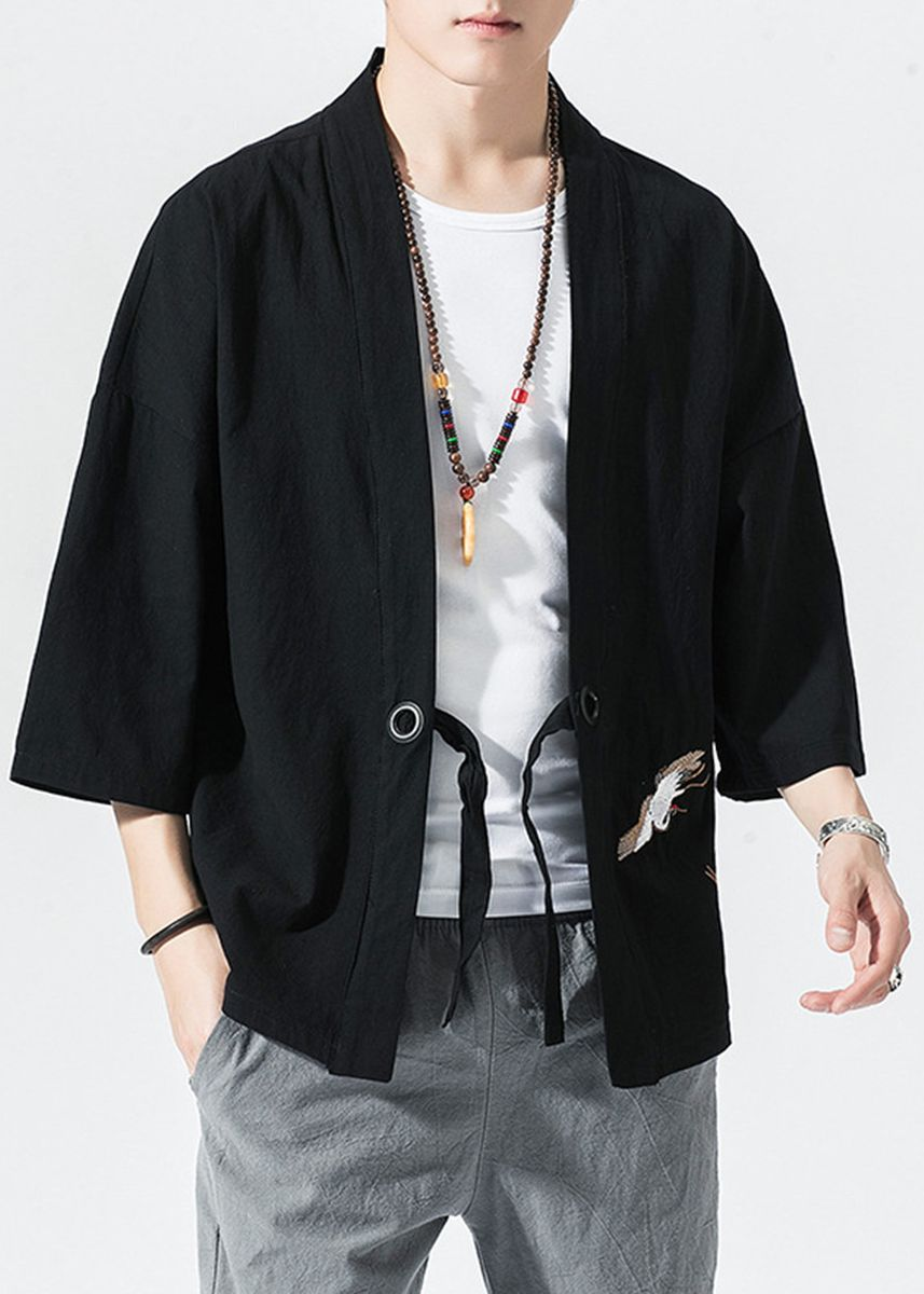 ดำ color แจ็คเก็ต . Man Ancient Costume Han Clothing Literary Vintage Jacket -