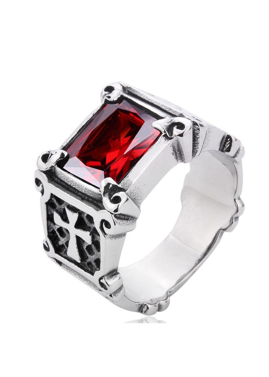 Red color Rings . Vintage Men's Titanium Steel Inlay Ring -