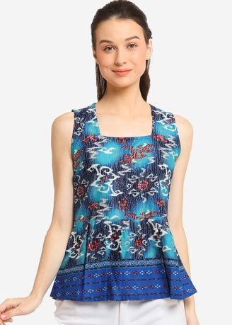 Biru color Atasan & Tunik . Square Sleeveless Monita -