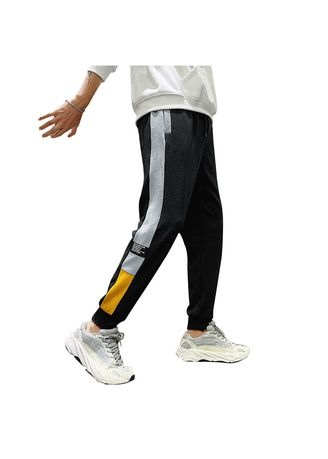 Black color Casual Trousers and Chinos . Fashion Wild Sports Nine Pants Men's Beam Feet Casual Pants -