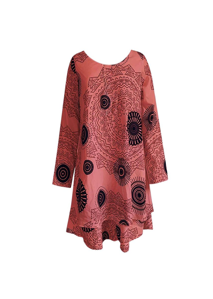 Red color Dresses . Women Loose New Arrival Vintage Print Full Sleeve Autumn Dress  -