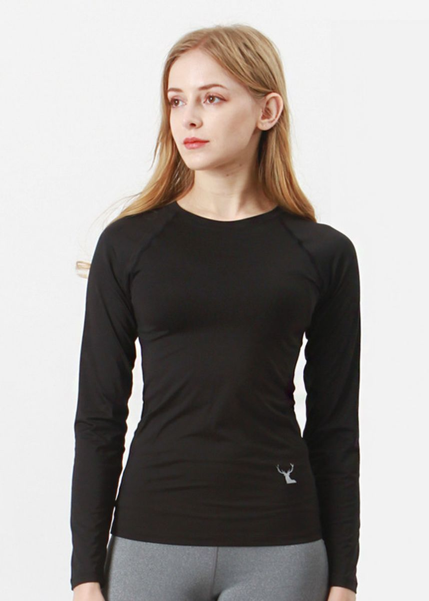 Black color Tees & Shirts . Nokjok Giselle Long Sleeve T-Shirt -