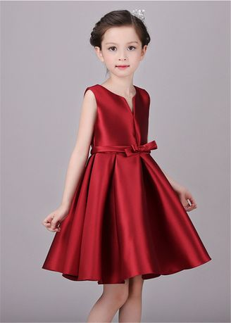 แดง color เดรส . Red Flower Girl Wedding Puff Dress -