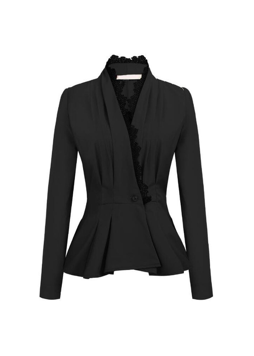 Black color Jackets . Ladies' Slim Lace Paneling Suit Jacket -