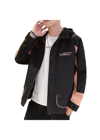 Black color Jackets . Men's Black Hooded Thin Section Sports Leisure Jacket -