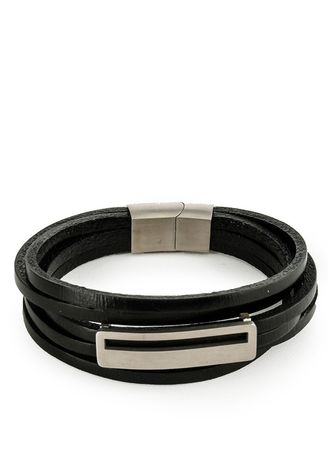 Hitam color Gelang . Urban State - Multi-Layer Lined Plate Leather Bracelet -