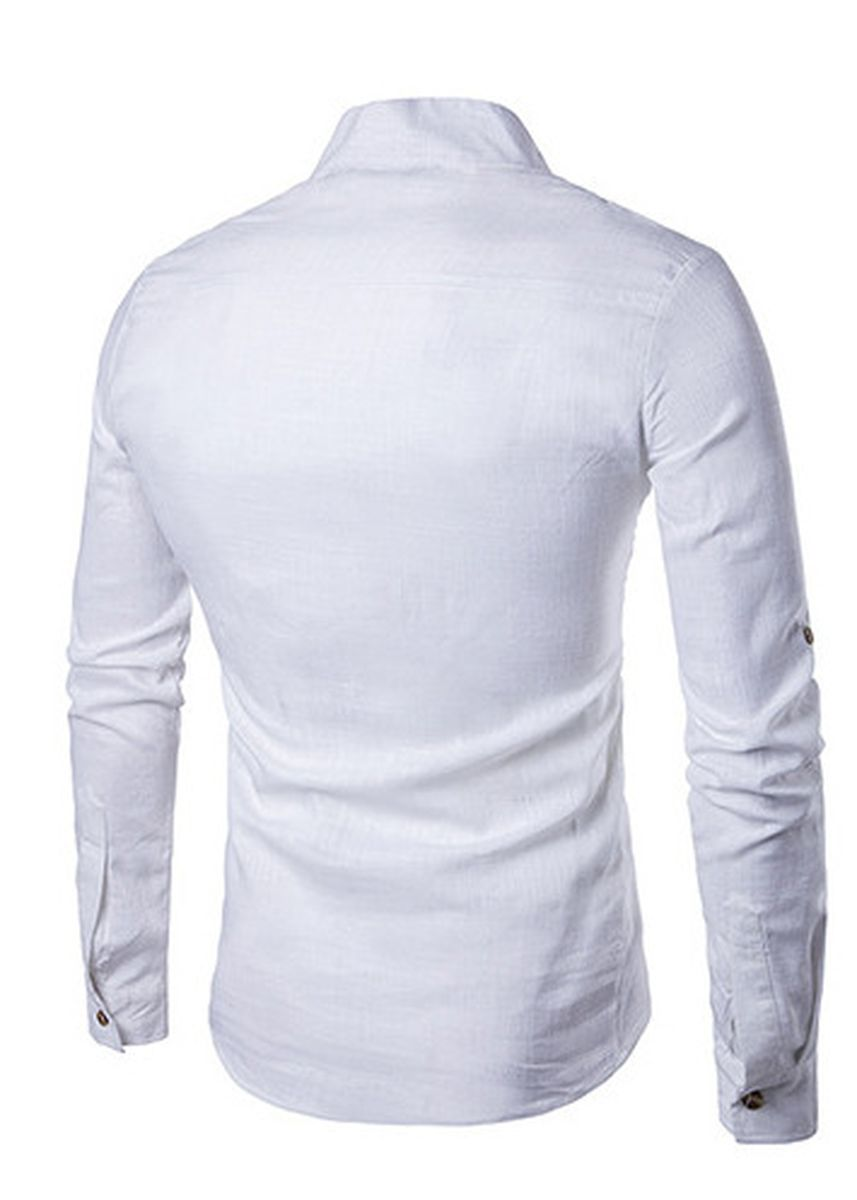 White color Casual Shirts . Long-sleeved Collar  Linen Slim Pullover Shirt -