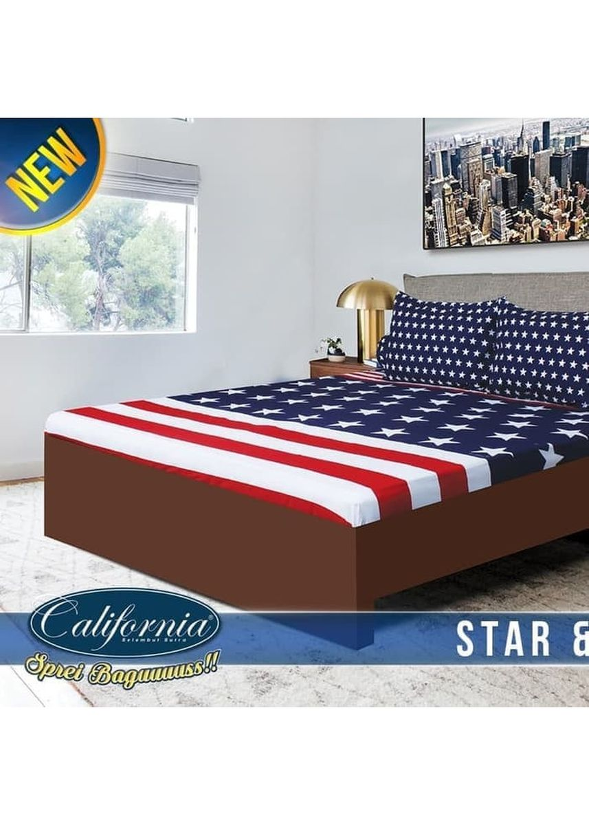 No Color color Bedroom . Sprei California 180x200 Motif Star Stripe King Size Ukuran Nomor 1 -